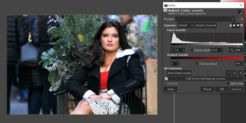GIMPレベルツールレッドチャネルカラー調整