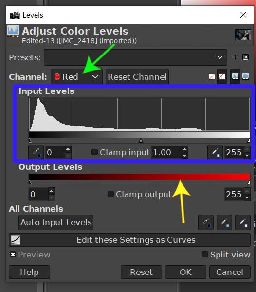 GIMPレベルツールのレッドチャネル