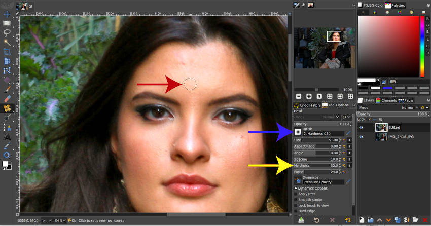 修復ツールツールオプションとブラシ設定GIMP