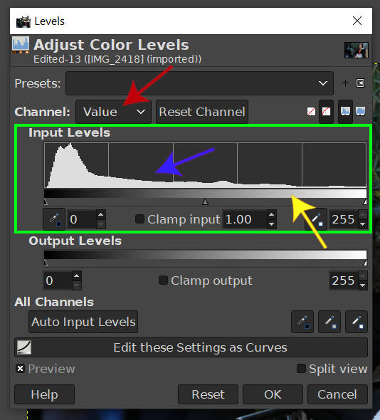 レベルツールの詳細な外観GIMP 2020