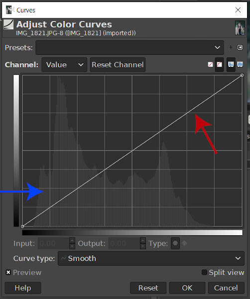 Lineaire Curve en Histogram GIMP Curves Tool