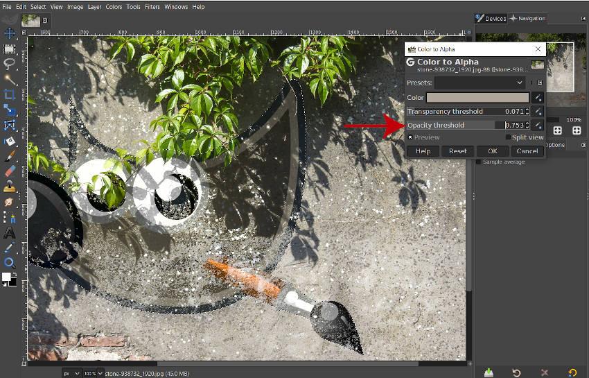 Barva posuvníku prahu prahu pro výuku Alpha Tutorial GIMP
