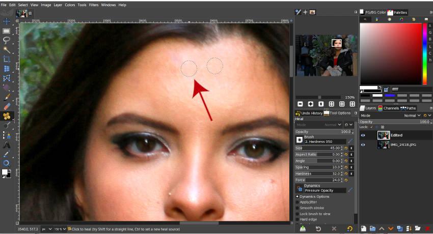 Heal Tool GIMPを使用して目的地にペイントする