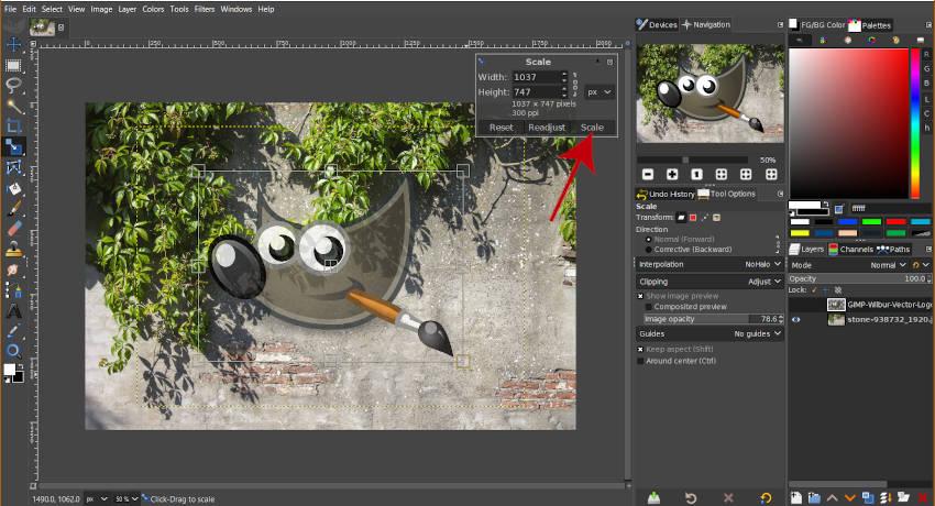Měřítko grafiky pomocí nástroje měřítka GIMP
