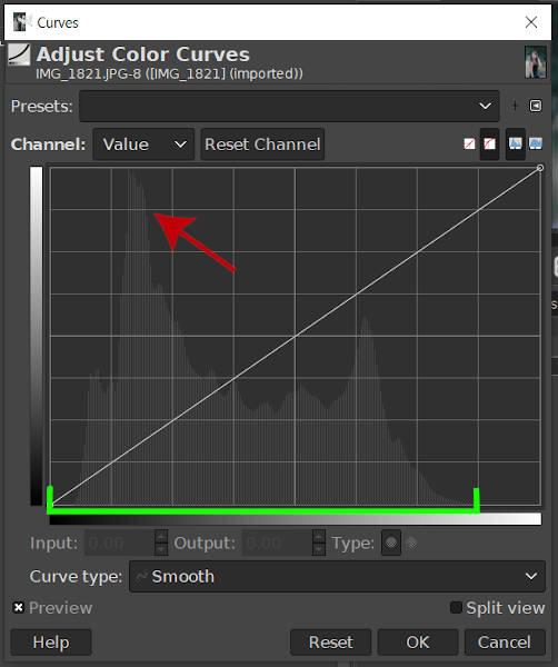 Scheve histogram GIMP 2020 Curves Tool