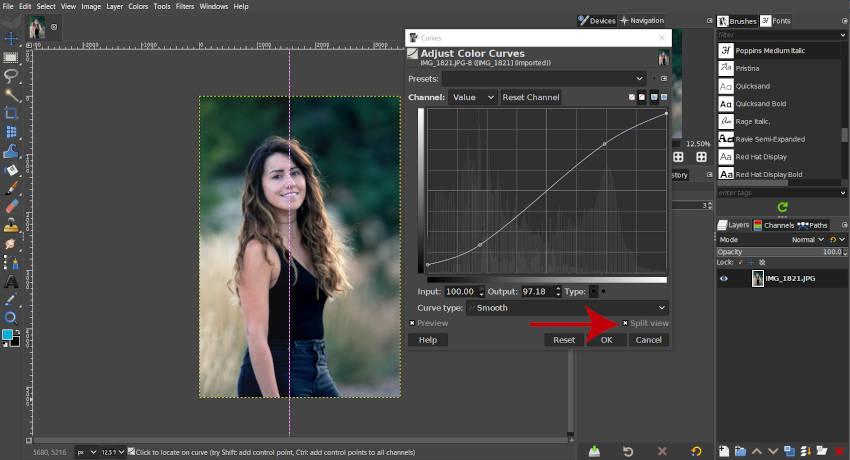 Gesplitste weergave Voorbeeld S Curve Tutorial GIMP