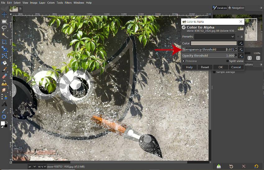 Barva posuvníku prahové hodnoty průhlednosti pro filtr Alpha GIMP