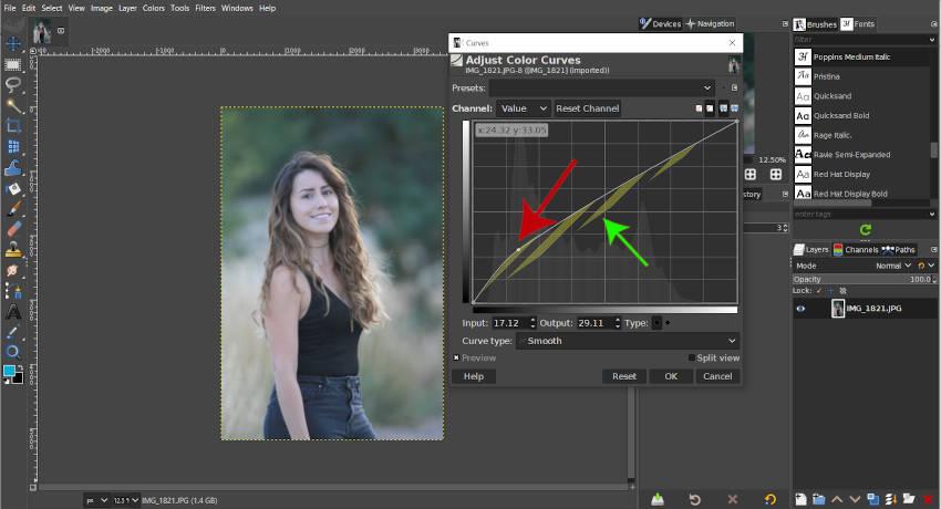 maak de afbeelding lichter met de contourcurve